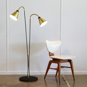 anodised twin neck floor lamp & chair