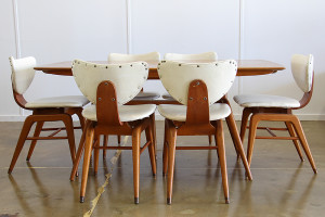 mid century dining table & chairs_side