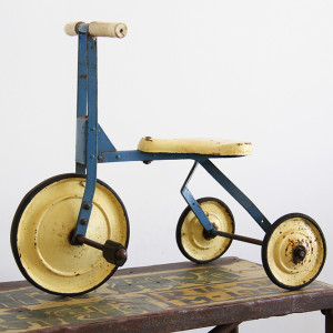 vintage trike yellow_blue
