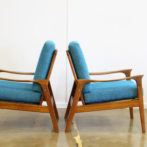 blue teak armchairs 1