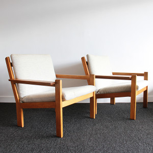 danish plank style armchairs 1
